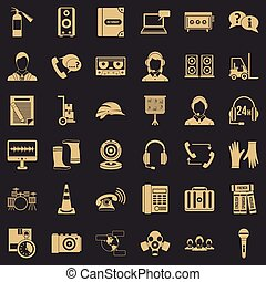 Cassette icons set, simple style
