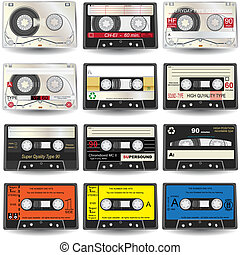 Vector illustration of nine different colored cassette tapes, isolated on white background.