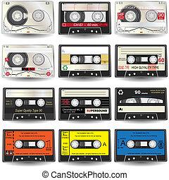 Cassette Icons - Vector illustration of nine different ...