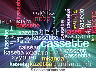 Cassette multilanguage wordcloud background concept glowing