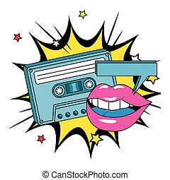 cassette of nineties with lips in explosion pop art