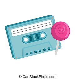 cassette of nineties with lollipop isolated icon
