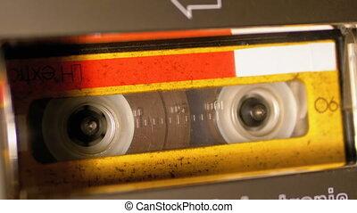 cassette, réembobiner, magnétophone, audio, inséré