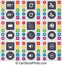 Cassette, Reload, Receiver, Camera, Connection, Palette, Monitor, Sound, Minus icon symbol. A large set of flat, colored buttons for your design. Vector