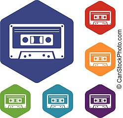 Cassette tape icons set