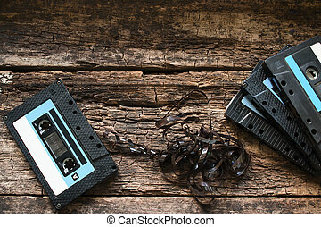 cassette tape on a wooden table
