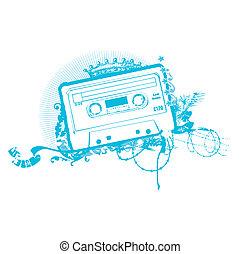 Cassette Tape Stencil . illustration