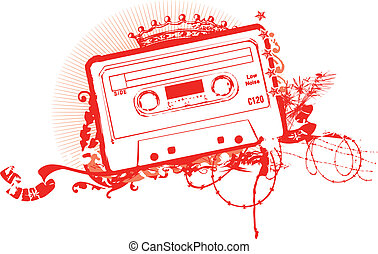 Cassette Tape Stencil . Vector illustration.