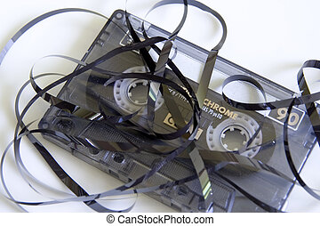 Cassette Tape Unravelled - Generic audio cassette tape. Tape...