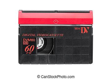 cassette, vídeo, plano de fondo, dv, mini, blanco