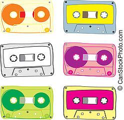 cassette, vecteur, audio