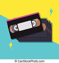 cassette, vidéo, pile, bandes