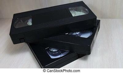 cassette vidéo, pile, vhs, bande