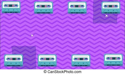 cassettes record frame in memphis retro style background,4k video animated