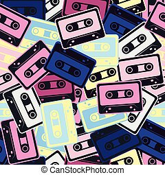 Cassettes vector seamless pattern In Retro style.