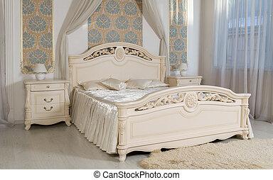 cassetti, camera letto, beige, letto, classico