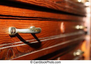 cassetti, su, anticaglia, mobilia
