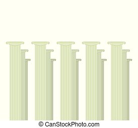 Cassical Roman gray columns group of three decor decoration announcement certificate education isolated on white background vector illustration