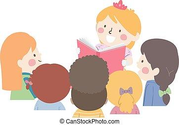 cassiere, bambini, ragazze, storia, principessa, ascoltare