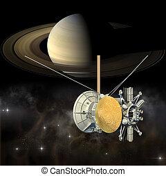 Cassini mission passing Saturn - Unmanned spacecraft similar...