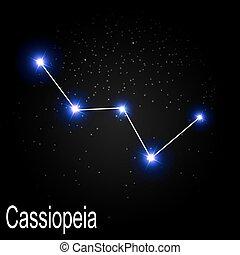 cassiopeia, konstellation, mit, schöne , hell, sternen, rücken