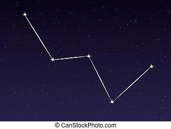 cassiopeia, konstellation, vektor
