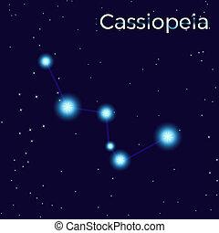 Cassiopeia sing. Star constellation element. Constellation symbol. Illustration on dark blue background.