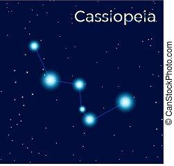 cassiopeia, sing., stern, konstellation, vektor, element., konstellation, symbol., abbildung, auf, dunkel blau, hintergrund.