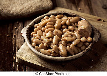 cassoulet de Castelnaudary, a French bean stew - closeup of ...