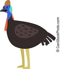 Cassowary cute cartoon bird
