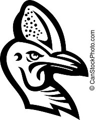 Black and white illustration of head of a Cassowary, genus Casuarius, ratites a flightless bird native to New Guinea and Australia viewed from side on isolated background in retro style.
