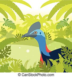 Cassowary on the Jungle Background