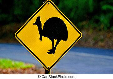 Cassowary warning sign in Queensland Australia