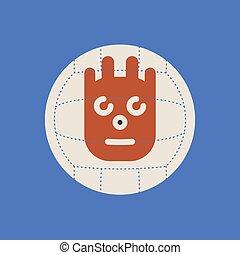 Cast Away movie icon. Wilson ball sign
