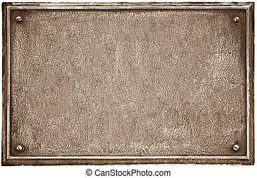 cast-iron, blanco, viejo, placa