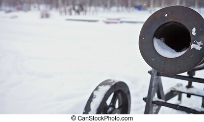Cast-iron cannon at Onega lake quay, slider