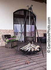 cast-iron, chaleira, ligado, terraço