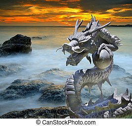 Cast iron dragon with isolated withe background and clip...