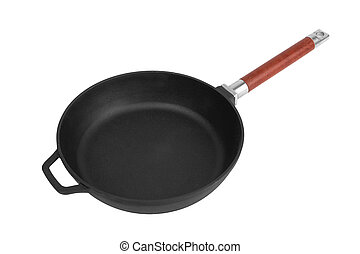 Cast iron frying pan isolated on white background