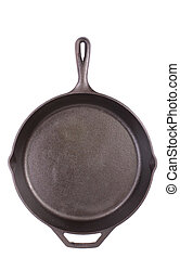 Cast Iron Frying Pan, White iso. Background