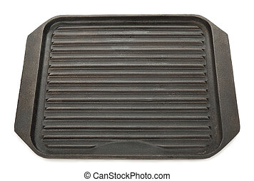 Cast iron grill pan isolated on a white background