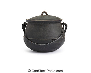 Black old cast-iron kettle on white background. Clipping path is included