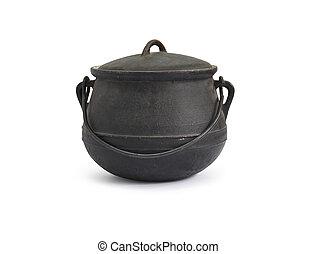 Cast-Iron Kettle - Black old cast-iron kettle on white...