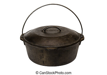 Cast iron pot isolated on white background with clipping path.