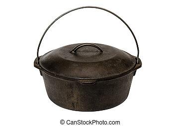 Cast Iron Pot Isolated - Cast iron pot isolated on white...