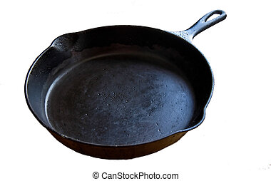 Cast Iron SKillet Isolated on White - This is an old, black ...