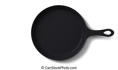 Cast iron skillet on white background. 3DCG render...