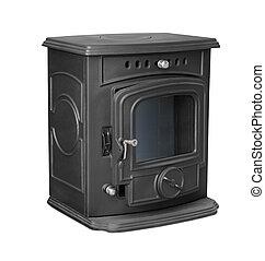 Cast iron stove - New cast iron wood stove isolated on white