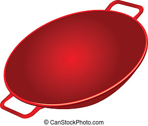Cast Iron Wok - Classic cast iron wok red. Vector...