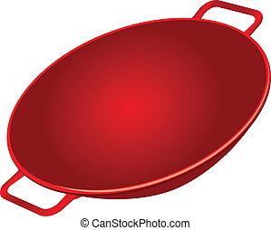 Cast Iron Wok - Classic cast iron wok red. Vector...